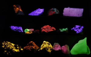 A small fluorescent mineral display. UVA (long wave) so no protective screen needed.